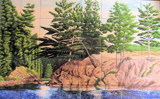 Custom Made Hand-Painted Tile Mural Of Canadian Wilderness