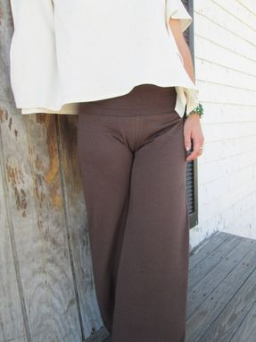 Custom Made Fold Over Waist Wide Leg Yoga Pant In Cocoa And Black Bamboo Jersey Knit - Eco Friendly