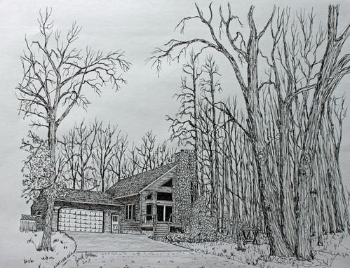 Custom Made Pen & Ink Work Of Private Homes