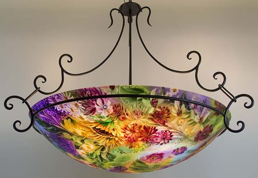Custom Made New Orleans Floral Jumbo Sized Reverse Painted Glass Chandelier