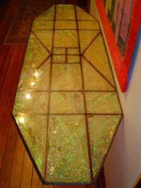 Custom Made Adjustable Steel Table With Epoxy Top