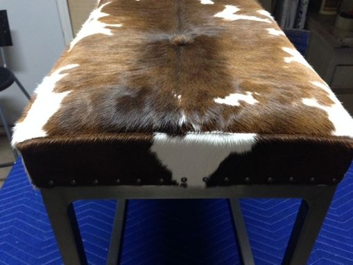 Custom Made Cowhide Steel-Framed Bench With Buttons And Decorative Nails
