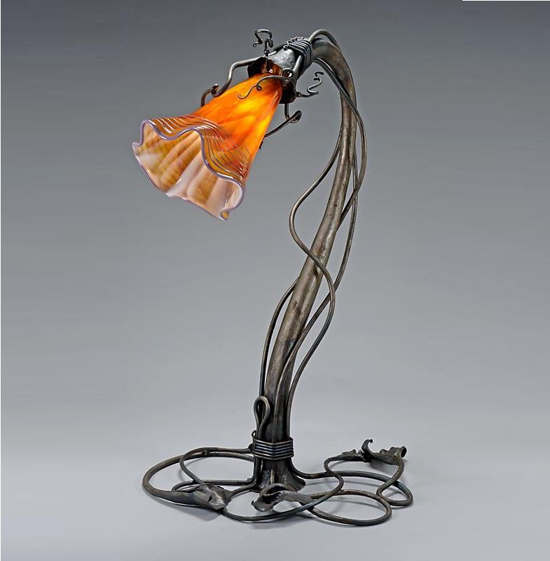 la waltz table lamp with blown glass shade artisan blown glass lamps