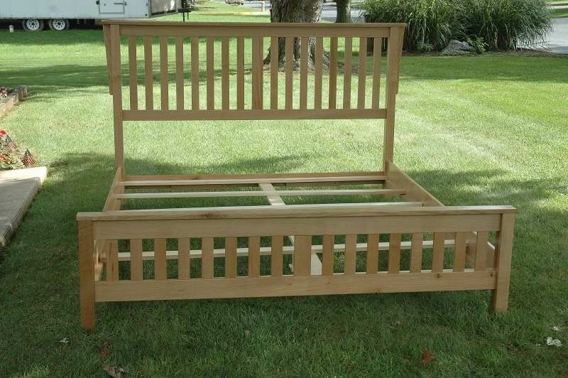 Custom made ca king mission bed frame by wooden it be nice for Mission style bed frame plans