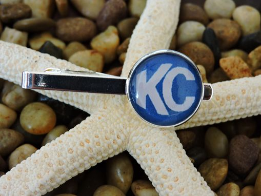 Custom Made Custom Sterling Silver Plated Glass Bezel Tie Tack