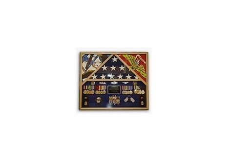 Custom Made 3 Flags Military Shadow Box, Flag Case For 3 Flags