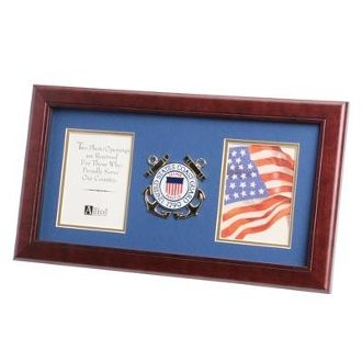 Custom Made U.S. Coast Guard Medallion Double Picture Frame