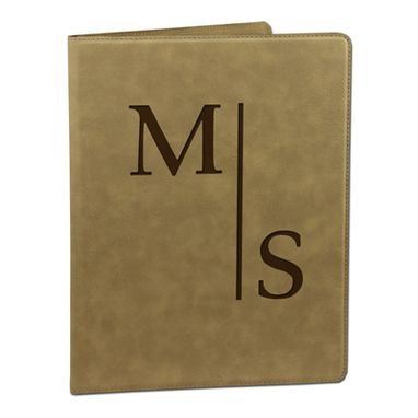 Custom Made Custom Engraved Light Brown Leather Portfolio