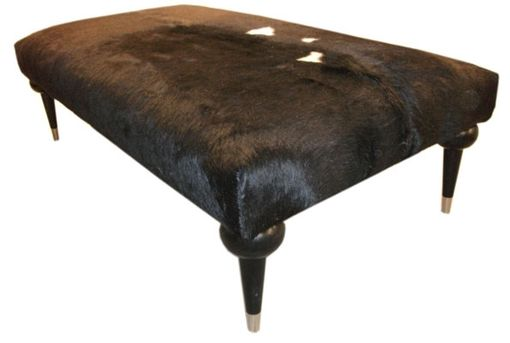 Custom Made Contemporary Hair-On-Hide Bench Ottoman
