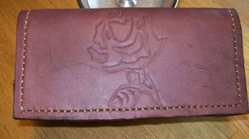 Custom Made Custom Leather Checkbook Cover With Rose Design And In Dark Mahogany