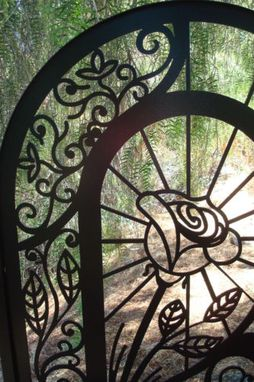 Custom Made Metal Art Gate Custom Pedestrian Rose Swan Walk Iron Steel Fabricated In Usa