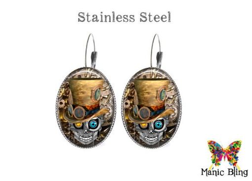 Custom Made Steampunk Skull Earrings - Glass And Stainless Steel