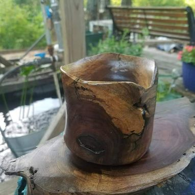 Custom Made Free Form Walnut Vessel (Available For Purchase)