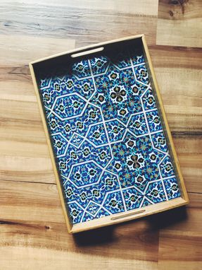 Custom Made Persian Desgin Wooden Tray (Blue Tile)