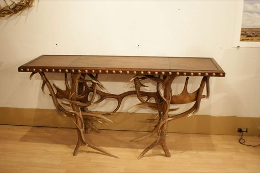 Custom Made Leather And Antler Entry/Sofa Table