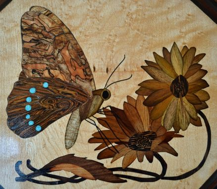 Custom Made Jewelry/Keepsake Box With Butterfly Marquetry Inlay