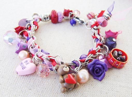 Custom Made Personalized Stainless Steel And Polymer Clay Charm Bracelet - With Beautiful Assorted Beads