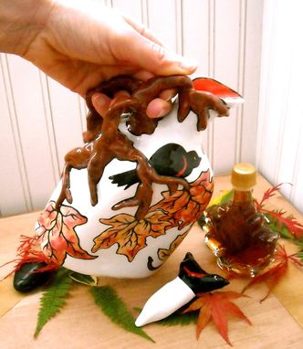 Custom Made Black Bird & Autumn Pottery Ceramic Maple Syrup Leaf Pitcher