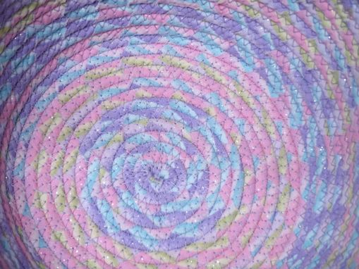 Custom Made Cloth Basket W/Handle - Coiled - Wrapped Clothesline - Small Round -Pink/Purple/Blue/Yellow Pastels