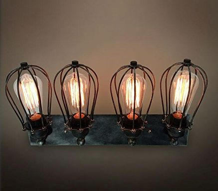 Custom Made Industrial Cage Wall Lamp Retro Iron Wall Sconces Rustic Bathroom
