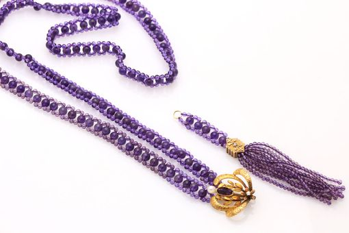 Custom Made Hand Woven Amethyst & Pearl Sautoir Tassel Necklace