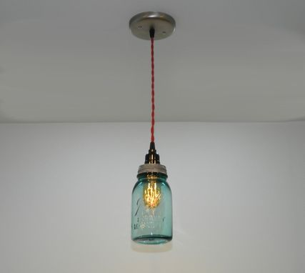 Custom Made Antique Aqua Ball Mason Jar Hanging Pendant Light