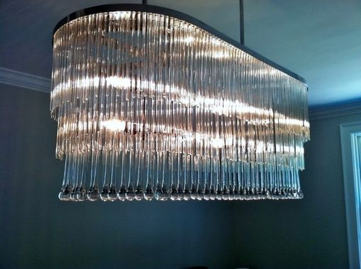 Custom Made Contemporary Tiered Glass And Crystal Chandelier