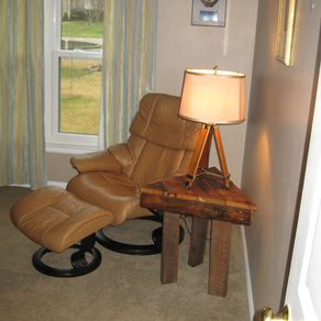 The robert william mid century modern collection on custommade triangle reclaimed wood lamp table by charles f bearden ii aloadofball Images