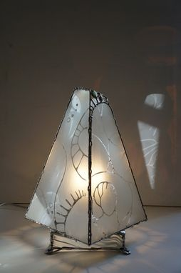 Custom Made Pyramidal Etched Glass Lamp