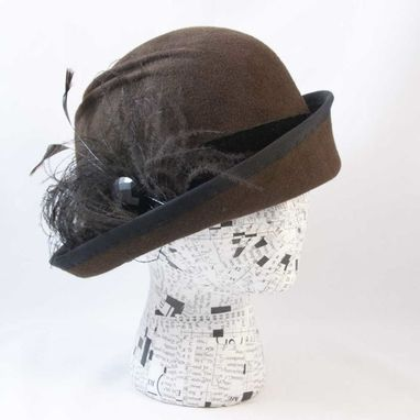 Custom Made Cloche Felt Chocolate Brown Feathers Lady Mary
