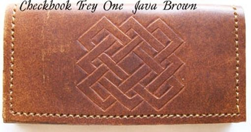 Custom Made Custom Leather Checkbook Cover With Trey One Design In Java Brown