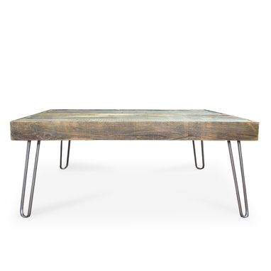 Custom Made Square Wood And Metal Reclaimed Coffee Table, Hairpin Legs