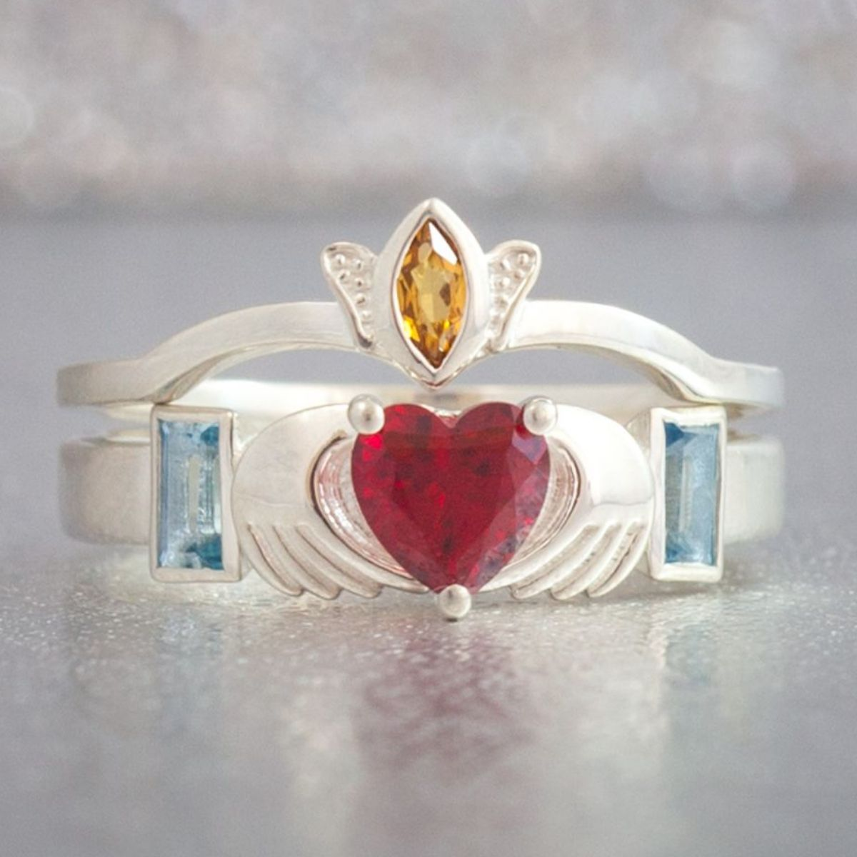 A Classic Claddagh Ring This One Features Heart Shaped Ruby Aquamarine Accents And Citrine In The Crown For Beautiful Play Of Colors: Modern Irish Wedding Rings At Websimilar.org
