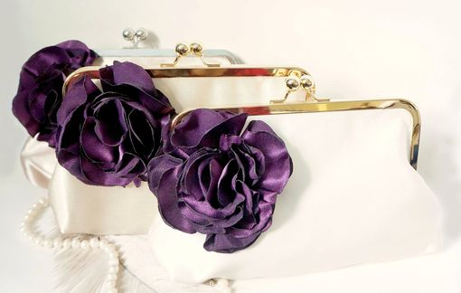 Custom Made Custom Bridal Clutch Purse With Carnation Flower Accent