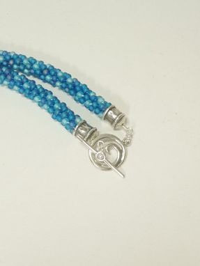 Custom Made Blue And Aquamarine Kumihimo Necklace With Aquamarine 18mm Rivoli
