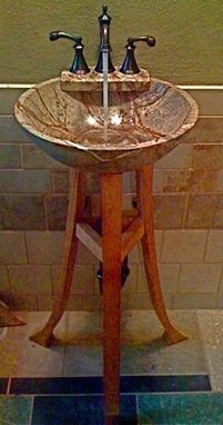 Custom Made A Cherry And Rainforest Marble Pedestal Sink