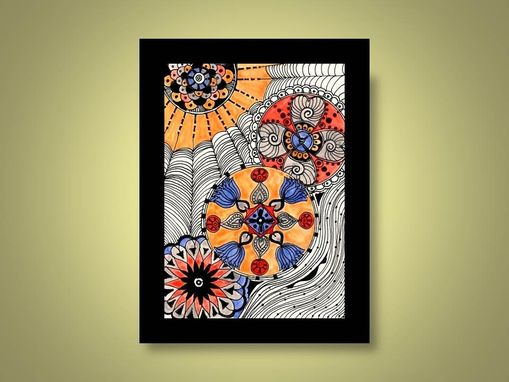 Custom Made Modern Fine Art Print Reproduction 5x7 Black Ink And Acrylic Painting Blue Gray Ochre Red
