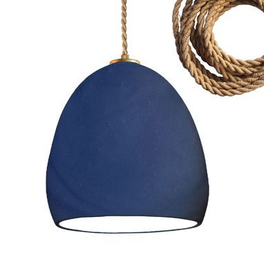 Custom Made Porcelain Ceramic Matte Indigo Clay Pendant Light- Ship Rope