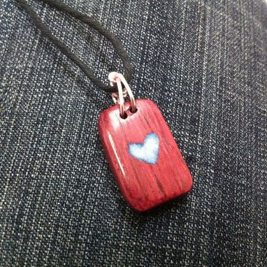 Custom Made Purpleheart Wood Pendant With Glow Inlay