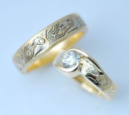 Custom Made Custom 18k Yellow Gold And Sterling Wedding Mokume Gane Rings