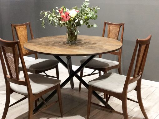 Custom Made Oak Round Kitchen Table With Tripod Style Metal Base