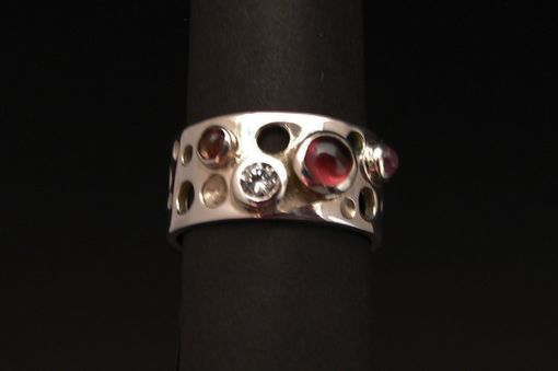 Custom Made Luna Sterling Silver Ring With Pink Tourmaline Cabochon And Swarovski Cubic Zirconia