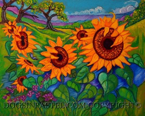 "Custom Made Custom 9 X 12"" Oil Pastel Flower Painting -Lively Flowers"