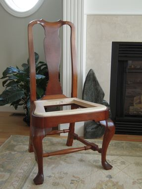 Custom Made Chair, Queen Anne Style, Solid Mahogany, Shellac/Wax