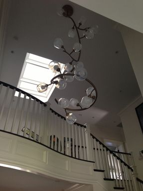 Custom Made Custom Chandelier Hand Blown Glass And Steel
