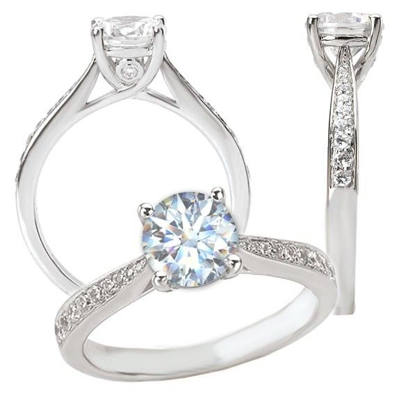 Custom Made 18k White Gold Cathedral Style Engagement Ring Semi Mount Holds A 6 5