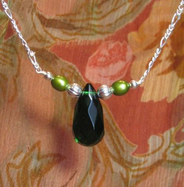 Custom Made Emerald Green Teardrop Silver Necklace - Free Shipping