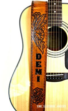Custom Made Flower Of The Desert Hand Tooled Personalized Leather Guitar Strap With Name