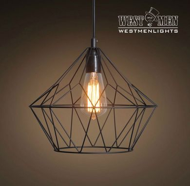 Custom Made Westmenlights Metal Wire Cage Pendant Light Hanging Lamp With Ceiling Plate
