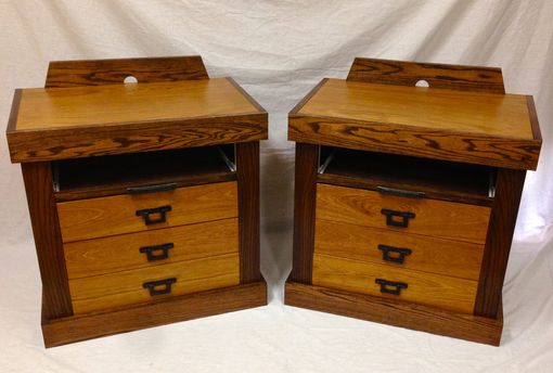 Custom Made Brazilian Cherry And Curly Maple Nightstands